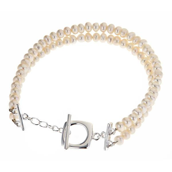 Sterling Silver Double Row Pearl Bracelet Cushion Toggle