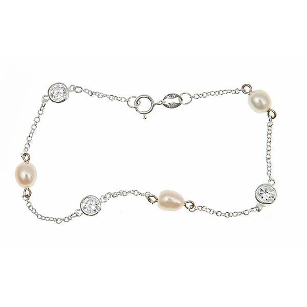Sterling Silver CZ by the Yard Pearl Bracelet
