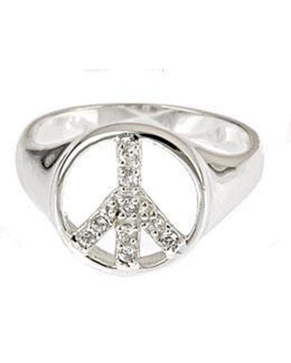 Sterling Silver CZ Peace Sign Ring Ring Sterling Forever 5 Silver