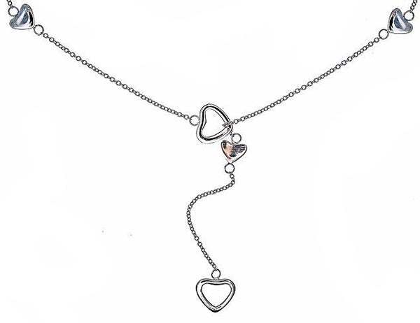 Sterling Silver Heart Link Lariat Necklace