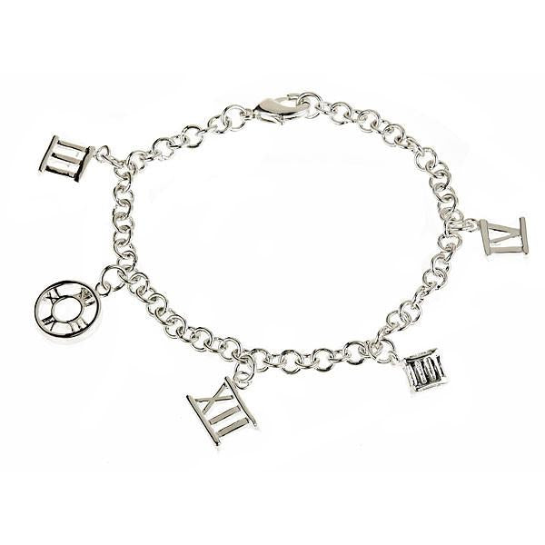 Sterling Silver Roman Numeral Style Charm Bracelet