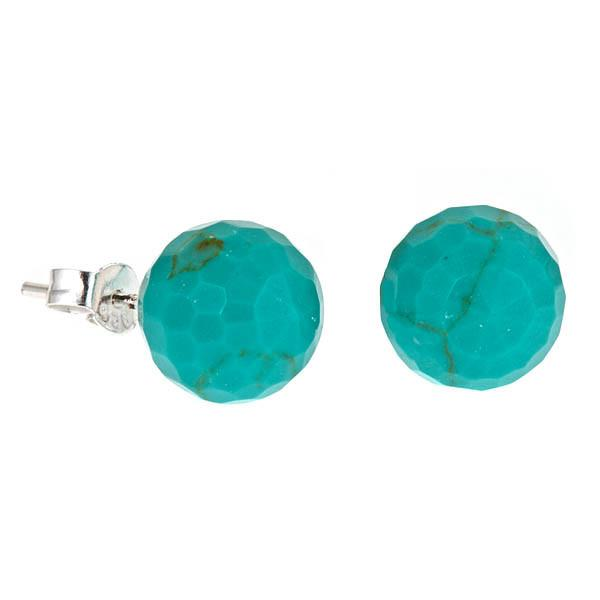 Sterling Silver Turquoise Round Stud Earrings