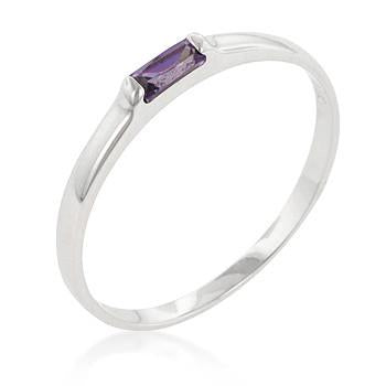 Sterling Silver Amethyst CZ Stackable Band Ring