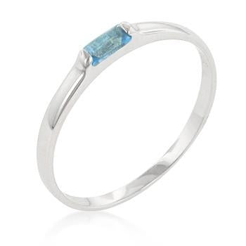 Sterling Silver Aquamarine CZ Stackable Band