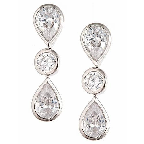 Sterling Silver w/ CZ Swing Drop Earrings