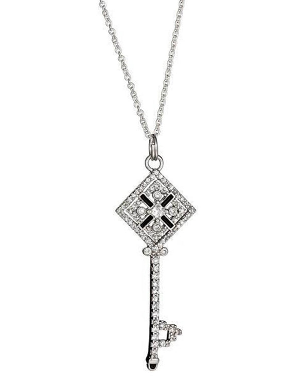 Sterling Silver Checkerboard Key Necklace Necklace Sterling Forever Silver 16""