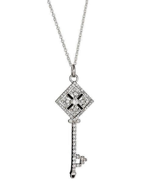 Sterling Silver Checkerboard Key Necklace