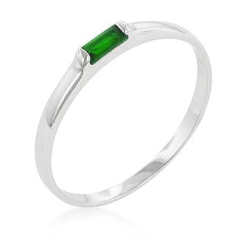 Sterling Silver Emerald CZ Stackable Band Ring - Sterling Forever