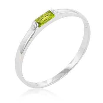 Sterling Silver Peridot CZ Stackable Band Ring - Sterling Forever