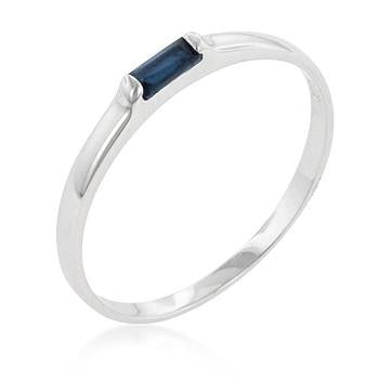 Sterling Silver Blue Cubic Zirconia Stackable Band Ring