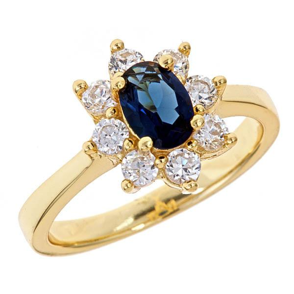 18K Gold Vermeil Royal Blue CZ Engagement Ring