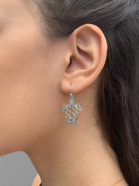 Sterling Silver Cutout Turtle Dangle Earrings