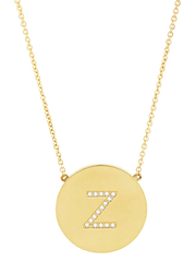 14K Gold Sterling Silver CZ Round Initial Necklace