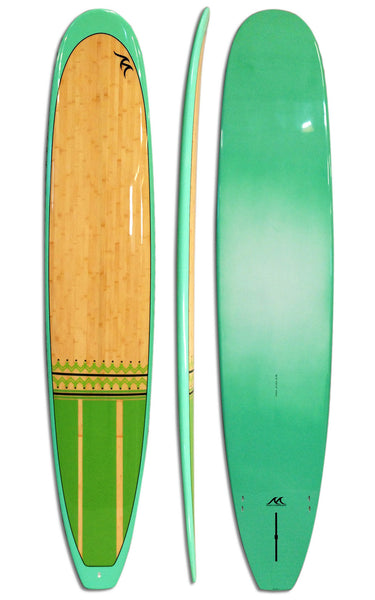 10'0 Epoxy Surfboard Gloss Polish Bamboo Inlay Longboard - Party Wave