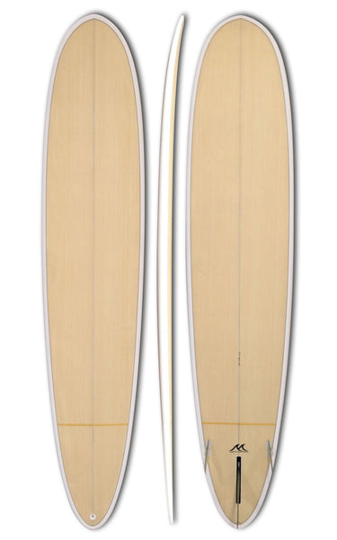 9'4 Epoxy Surfboard Wood Inlay Fun Longboard Pin Tail Performer 2+1 Fins - GT