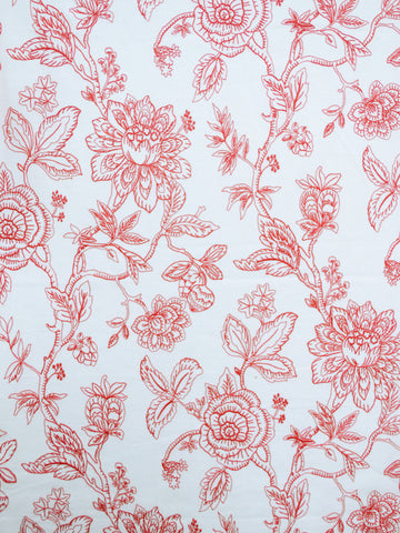 coral crewel fabrics, coral drapery fabrics, coral embroidered fabrics