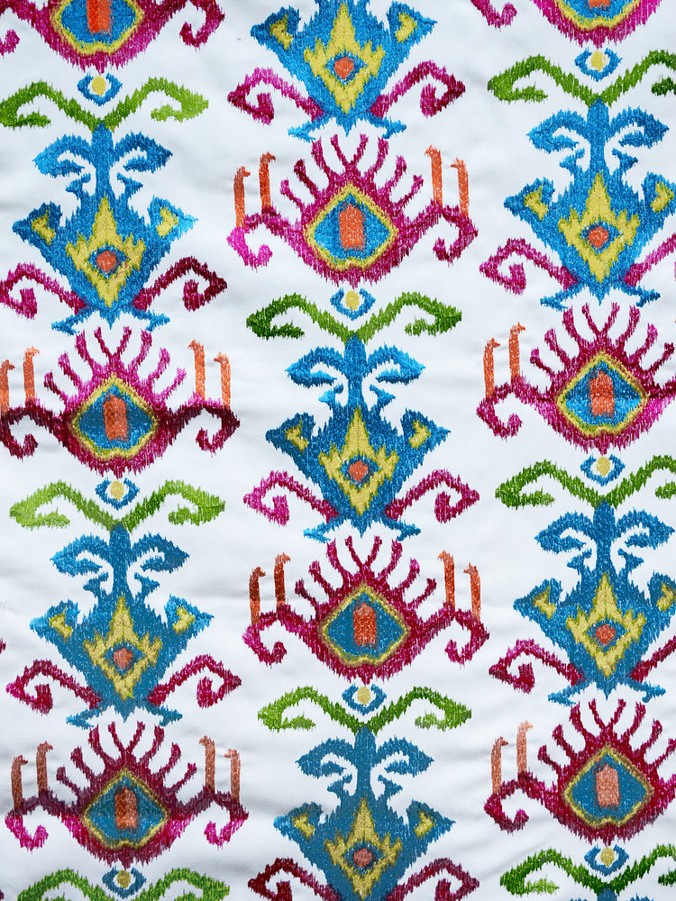 embroidered ikat fabric, embroidered ikat drapery fabric, multi colored ikat fabric