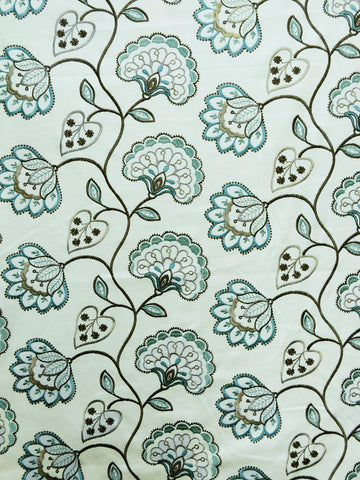floral crewel fabrics, floral drapery fabrics, embroidered floral fabrics