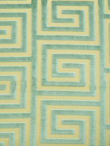 greek key, velvet, upholstery fabric