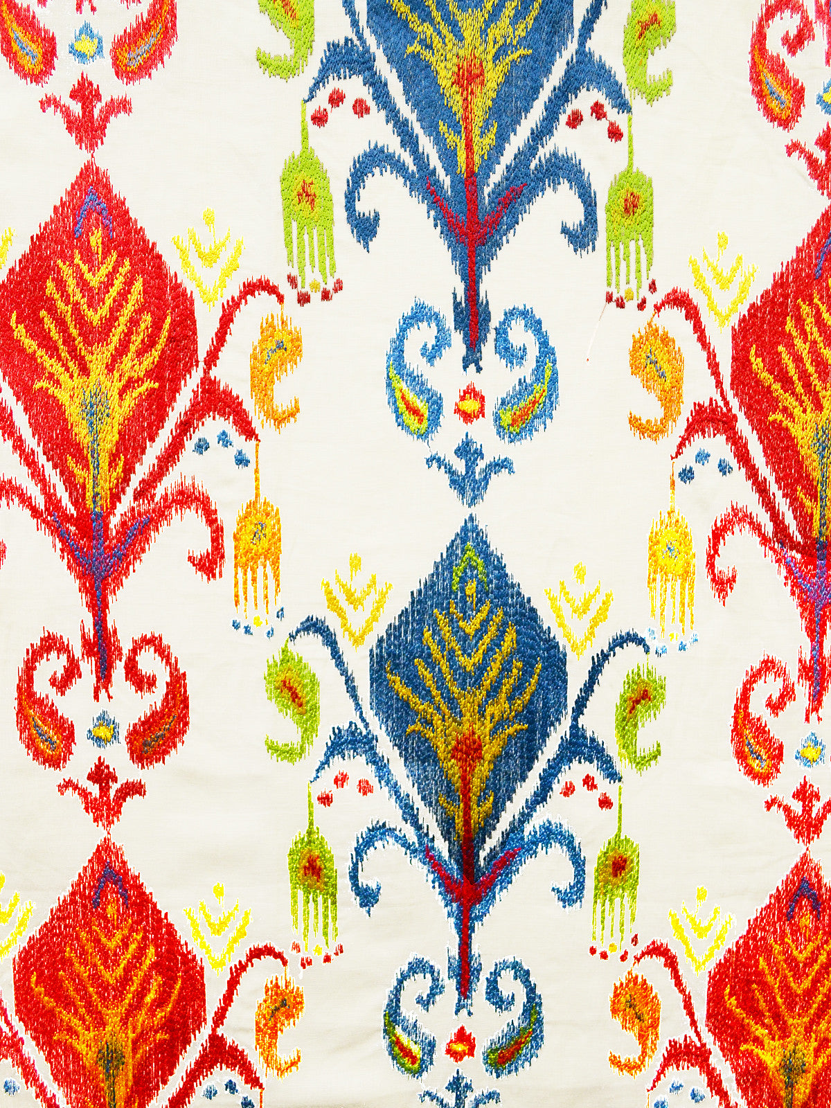 embroidered fabric, ikat fabric, kilim fabric