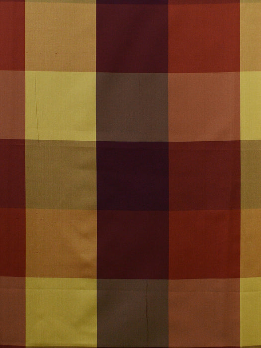 red and gold check silk fabrics, large check drapery fabrics, best online fabric store in atlanta