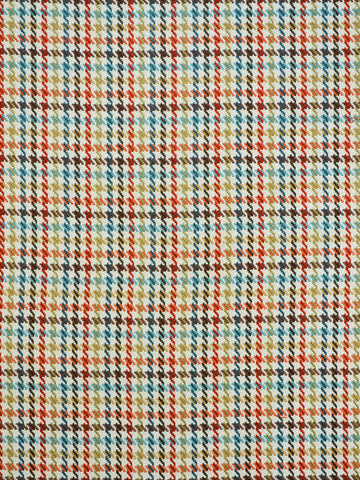 multi-color houndstooth plaid, blue drapery fabric, houndstooth drapery fabric