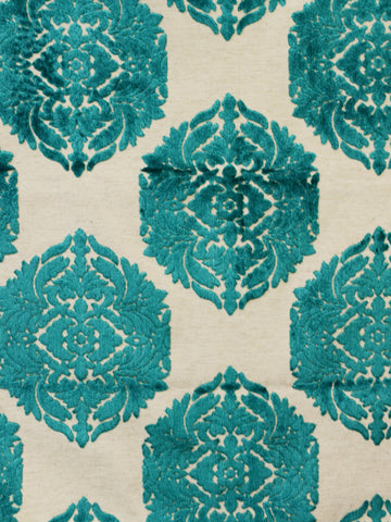 teal damask fabric, teal cut velvet, atlanta home decor
