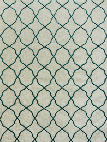embroidered geometric prints, embroidered lattice fabrics, embroidered fret fabrics