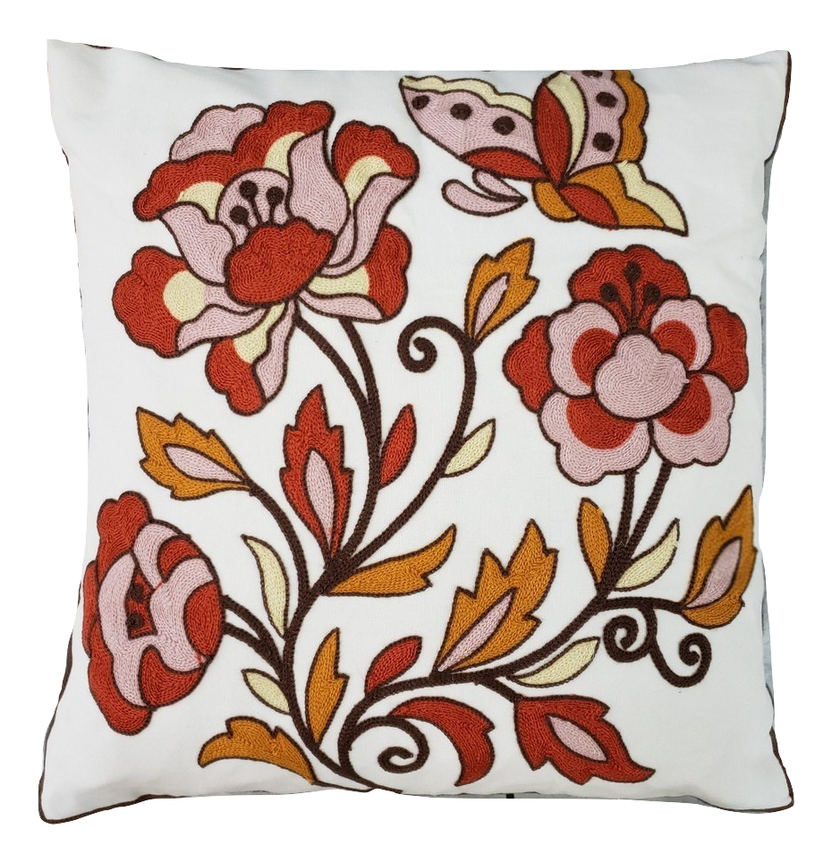CREWEL EMBROIDERY PILLOW COVER
