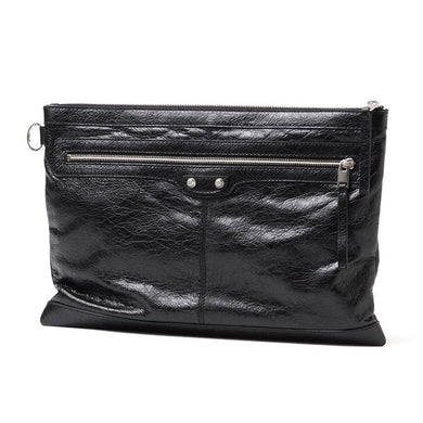 Balenciaga Unisex Black Pebbled Leather Oversized Clutch Bag