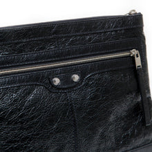 Load image into Gallery viewer, Balenciaga Unisex Black Pebbled Leather Oversized Clutch Bag