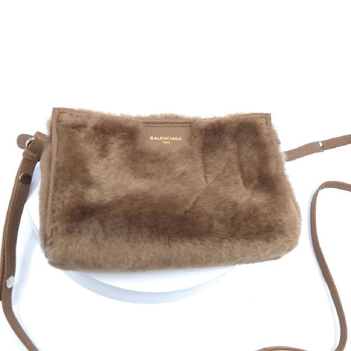 Balenciaga Soft Beige Shearling Lamb Fur Leather Handbag