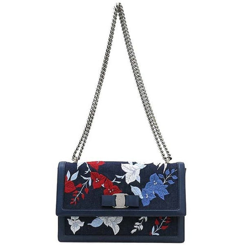 Ferragamo Women's Denim Ginny Floral Embroidered Shoulder Handbag