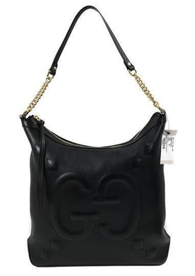Gucci Apollo Embossed GG Dadini Black Leather Medium Hobo Handbag