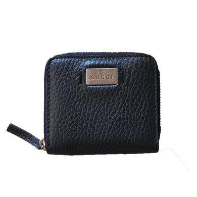 Gucci Navy Blue Leather Coin Case Pouch With Zipper Closure