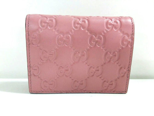 Gucci Signature GG Continental Flap Card Case Wallet Leather Pink Calf