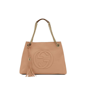 Gucci Soho Interlocking G Beige Leather Chain Shoulder Bag