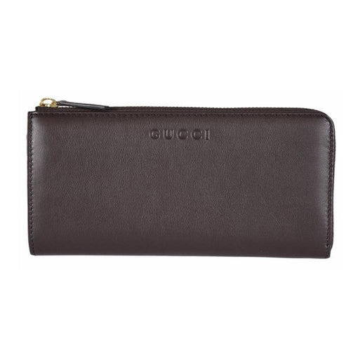 Gucci Women's Classic Brown Leather Zip Luxury Wallet