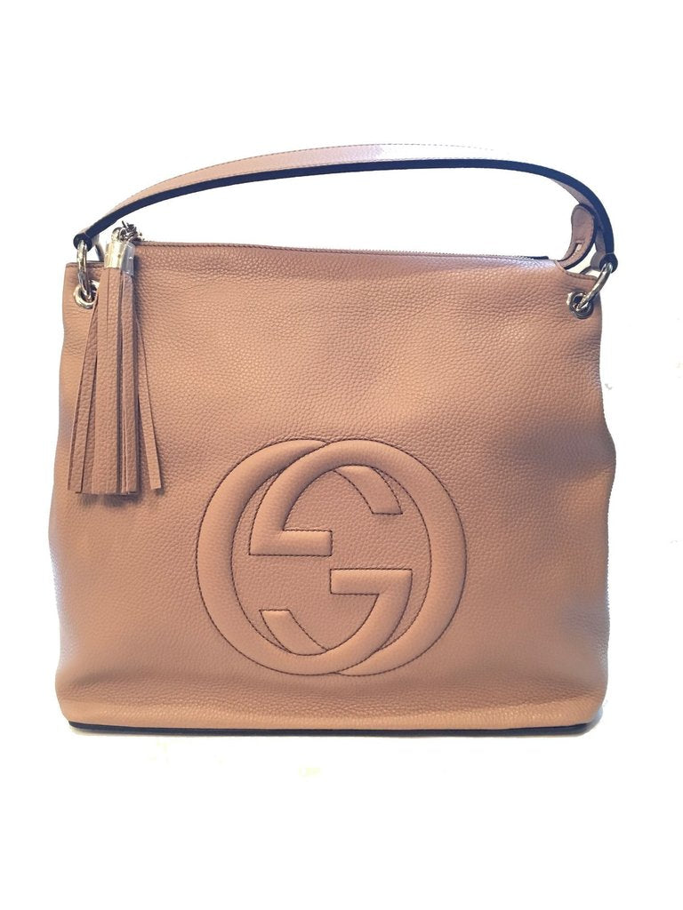 Gucci Women's Camelia Beige Leather Large GG Logo Soho Handbag Satchel