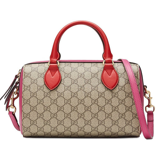 Gucci Women's GG Supreme Small Boston Pink and Red Leather Handbag