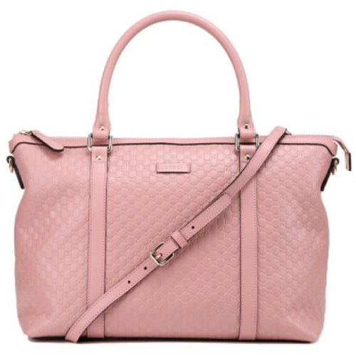 Gucci Women's Microguccissma Soft Calf Leather Light Pink Medium Top Zip Tote