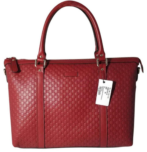 Gucci Women's Microguccissma Soft Calf Leather Red Medium Top Zip Tote