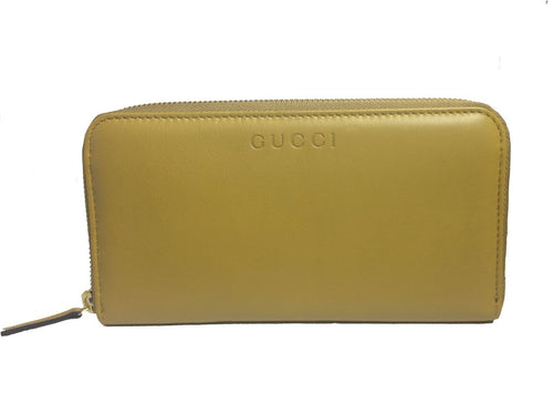Gucci Women's Mustard Yellow Leather Zip Around Large Wallet