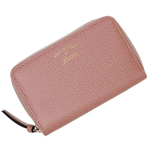 Gucci Women's Soft Pink Pebbled Leather Swing Zip Wallet