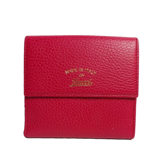 Gucci Women's Classic Swing Blossom Leather Pink Flap Wallet Small