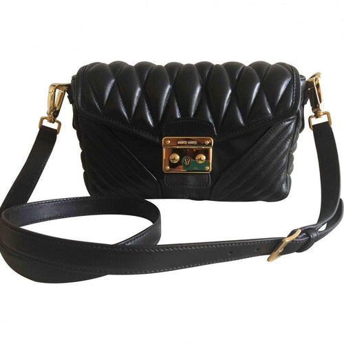 Miu Miu Women's Black Nappa Biker Pattina Leather Crossbody Handbag