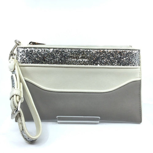 Miu Miu Contenitori Piatto Maniglia Gray and White Glittered Pouch Clutch Wristlet