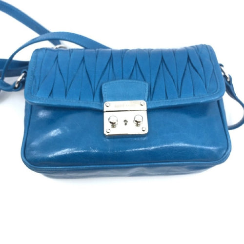 Miu Miu Laguna Blue Matelasse Lux Leather Crossbody Bandoliera Handbag