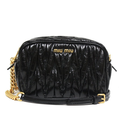 Miu Miu Women's Matelasse Black Leather Chain Crossbody Shoulder Bag