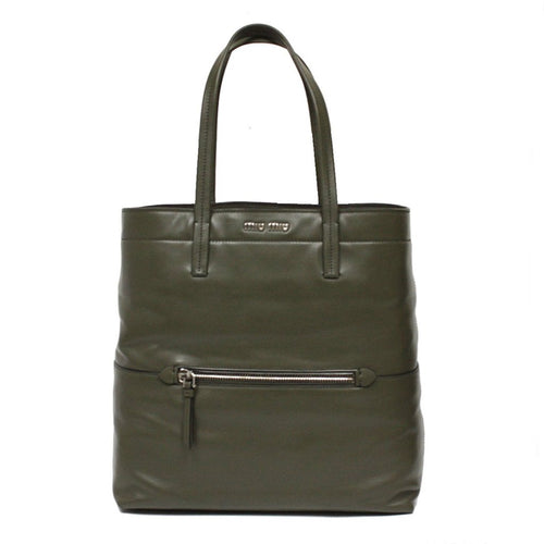 Miu Miu Women's Vitello Soft Leather Green Tote Handbag